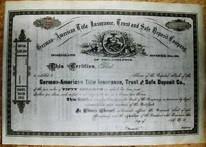 Details About German American Title Insurance Safe Deposit Comp Stock Certificate Dated18