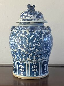 antique chinese blue and white porcelain ginger jar (H:35cm)