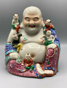 Large 27cm Chinese Laughing Buddha with childs Republic(1912-