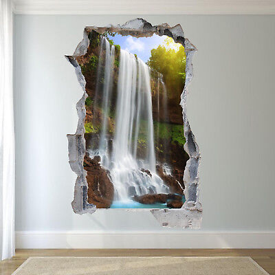 nature scenery waterfall wall stickers 3d art mural poster office home decor tw5 ebay