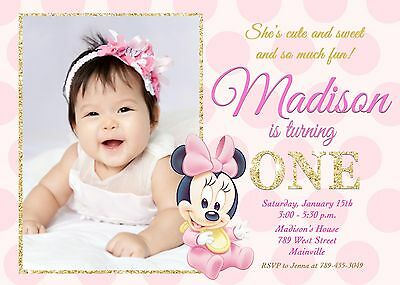 minnie mouse pink and gold baby first birthday one year party invitation ebay