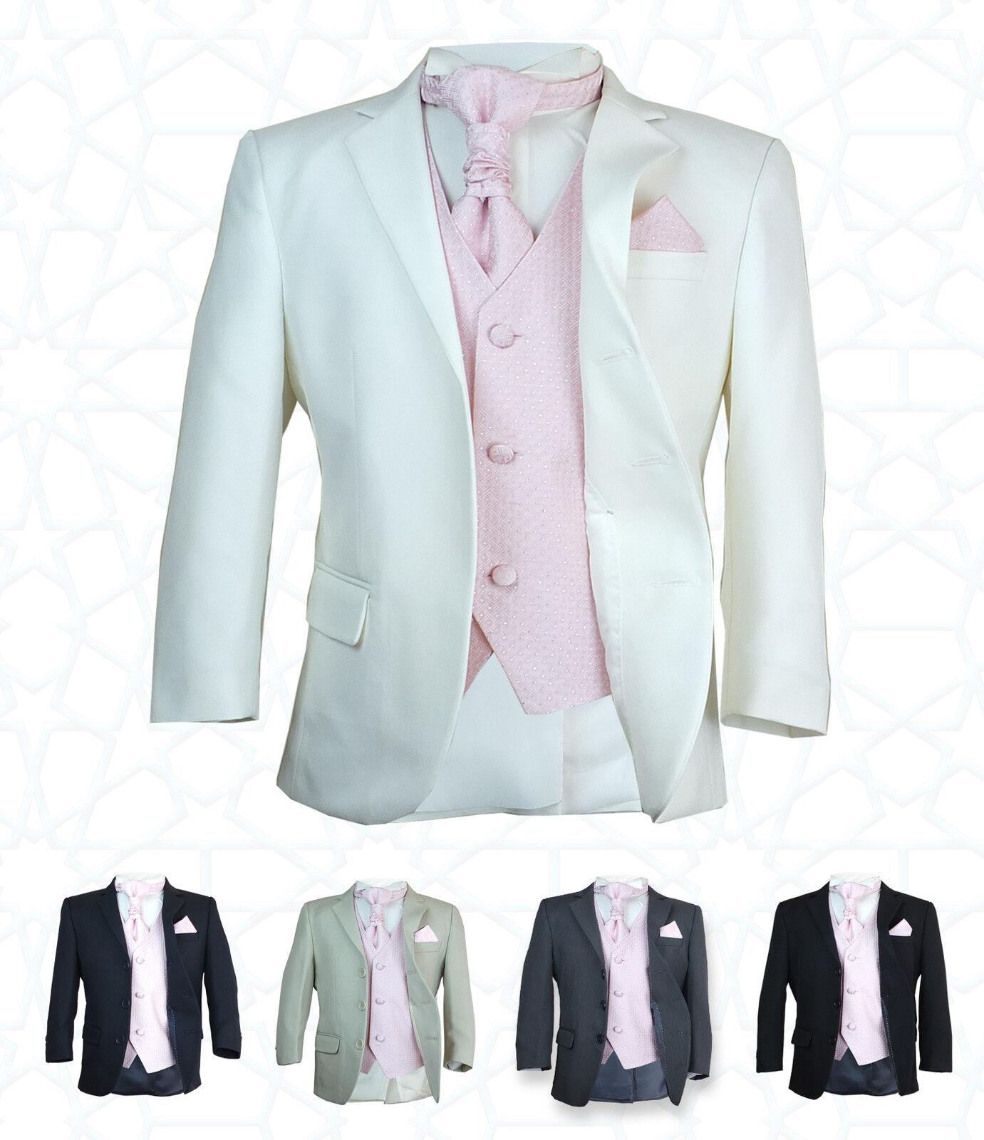 SIRRI Boys 5PC Formal Wedding Suits Pink Cravat Prom Page