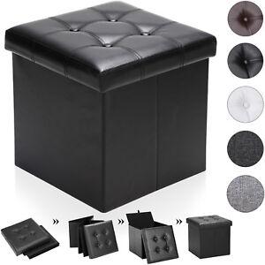 details sur tabouret pouf coffre de rangement pliable 38x38x38 cm max 40 l espace salon