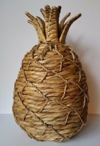 Pineapple Home Decor Figurine Woven Water Hyacinth 14  Tall x 9     Image is loading Pineapple Home Decor Figurine Woven Water Hyacinth 14