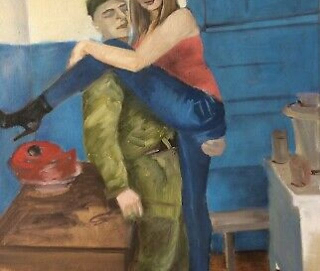 Original Oil Painting Military Sexy Russian Girl Soldier Genre