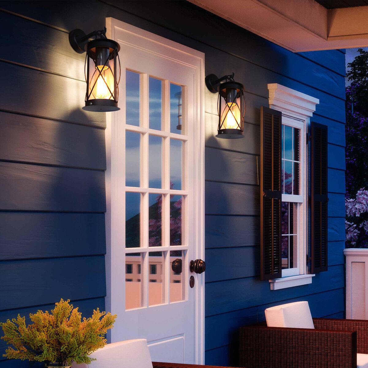 outdoor garden wall lantern light black