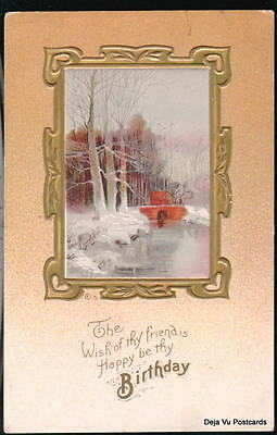 Happy Birthday Vtg Postcard Winter Snow Bridge Scene Ebay