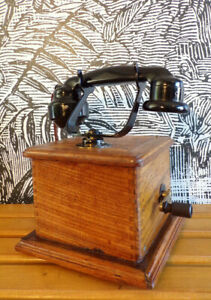 details sur ancien telephone marty a manivelle bois bakelite design 1920 vintage