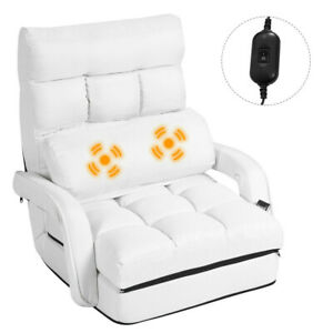 details about floor chair convertible bed with massage pillow recliner sofa foldable couch new