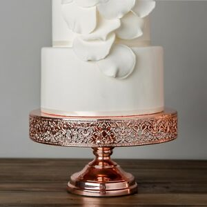 12 Inch Rose Gold Plated Wedding Cake Stand Round Metal Cupcake     Image is loading 12 Inch Rose Gold Plated Wedding Cake Stand