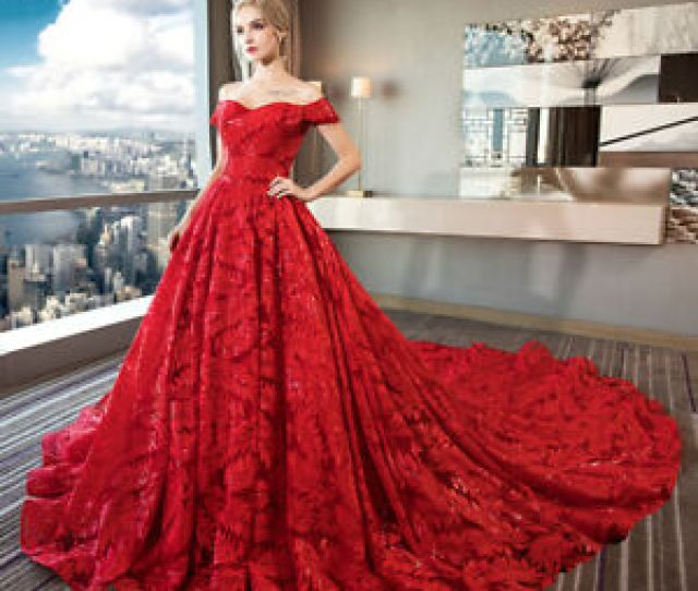 Image Is Loading  Ball Gown Wedding Dresses Long Tail Lace