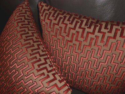 brentano throw pillows zigzag design cut velvet fabric red orange brown new pair ebay