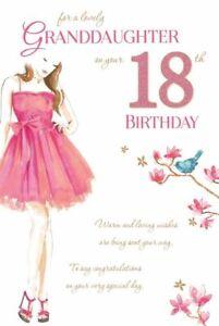 Granddaughter 18 18th Happy Birthday Girl Dress Design Lovely Verse Card Ebay