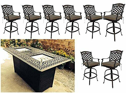 bar height propane fire pit table 9 pc dining set cast aluminum patio furniture