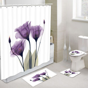 details about 4pcs flowers shower curtains sets with rugs purple tulip toilet cover rugs mat