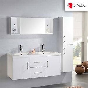 details sur meuble salle de bain 120 cm blanc colonne vasque robinetterie w malibu ensemble
