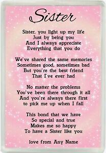 Personalised Sister Poem Jumbo Fridge Magnet Ideal Happy Birthday Gift M179 Ebay