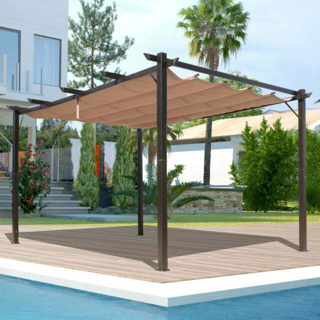 outsunny 10 ft x 13 ft steel outdoor pergola gazebo backyard canopy cover