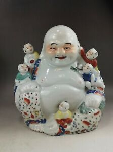 """A large/fine Chinese early 20C famille rose buddha """"游隆盛""""-Republic"""