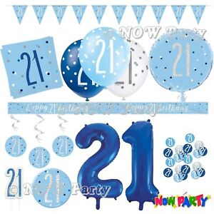 Blue 21st Birthday Party Decorations Supplies Boys Men Male Balloons Banners Etc Ebay