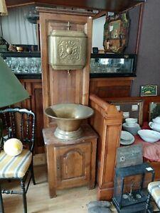 Ancien Meuble De Salle De Bain Bois Et Laiton Ebay