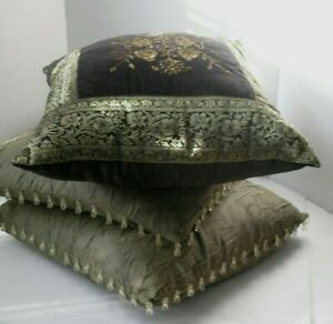 details about 3 throw pillows victorian style olive green black gold beads flowers 16x16