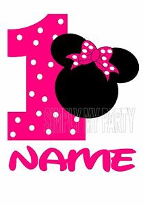 Iron On Transfer Sticker Minnie Mouse 1st Birthday T Shirt Jumpsuit Cake Ebay