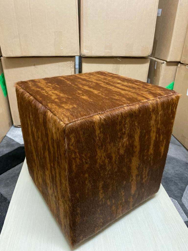 hand made brazilian genuine cowhide square pouf ottoman footstool bench brindle