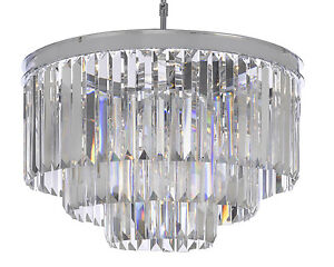 Image Is Loading Odeon Crystal Glass Fringe 3 Tier Chandelier Chandeliers
