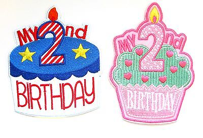 My 2nd Birthday Iron On Patch Girls Boys Baby First Gift Embroidered Badge Ebay