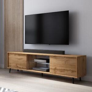 details sur meuble tv banc tv lefyr 140 cm blanc gris noir chene wotan eclairage led inclus