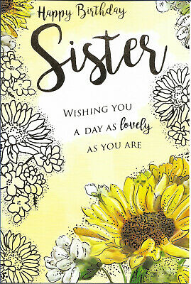 Sister Happy Birthday Greeting Card 9 By 6 Sunflowers Free P P Ebay