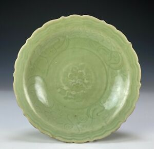Beautiful Antique Chinese Celadon Glazed Barbed Dish with Carved Design- Ming