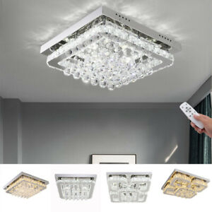 details about 40 50cm flush mount modern square ceiling chandelier crystal light lamp pendant
