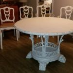White Washed Wood Pedestal Dining Table Set 6 Chairs Great Condition For Sale Online