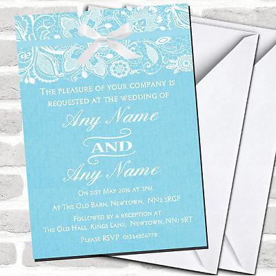 Vintage Aqua Sky Blue Burlap Lace Wedding Invitations Ebay
