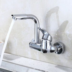details about wall mounted kitchen sink faucet mixer swivel spout hot cold tap brass chrome