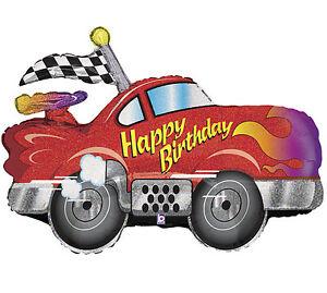 Happy Birthday Racing Car 34 Balloon Speed Hot Rod Checkered Flag Free Ribbon 30625855884 Ebay