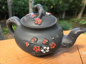 Vintage China YiXing Zisha Teapot Plum blossom 4.5 inches tall