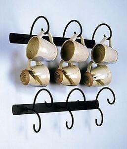 details about horizontal wall mount 6 cup mug rack holder display black metal 18 3 4 long