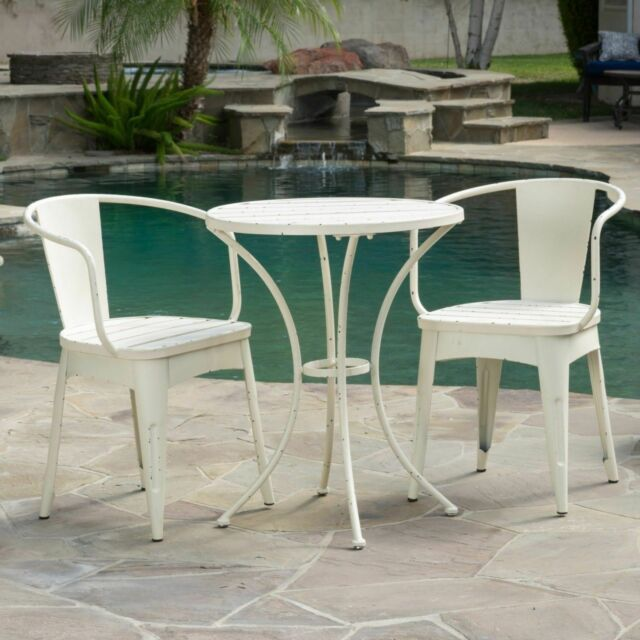 french bistro set small cafe patio table white kitchen rustic 3piece outdoor