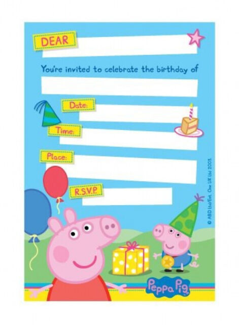 peppa pig invitations x 8 birthday invites party supplies