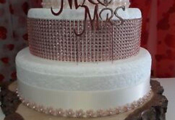 Diamante Silverrose Gold 3 Tier Wedding Cake Kitsdecorations Ebay