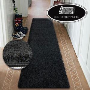 details sur moderne hall tapis d entree souple poils longs shaggy 5cm noir largeur 50 200