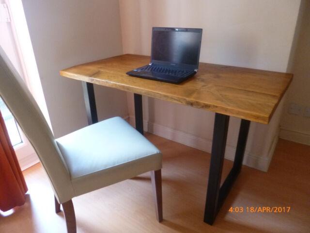 rustic vintage industrial wood dining table desk metal framed legs