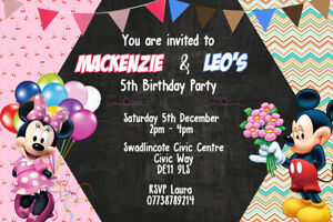 details about personalised mickey and minnie mouse joint birthday party invites envelopes m7