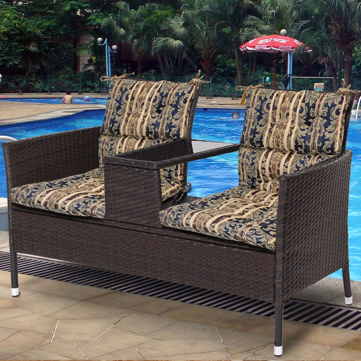 Details About Outdoor Indoor Pretty Wicker Seat Back Chair Cushion Made In Usa Floral Set Of 2