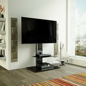 details sur noir brillant meuble tv cantilever avec tv support mural pour 32 60 pouces lcd del afficher le titre d origine