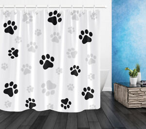 details about black white dog paw print shower curtain polyester fabric bathroom accessories
