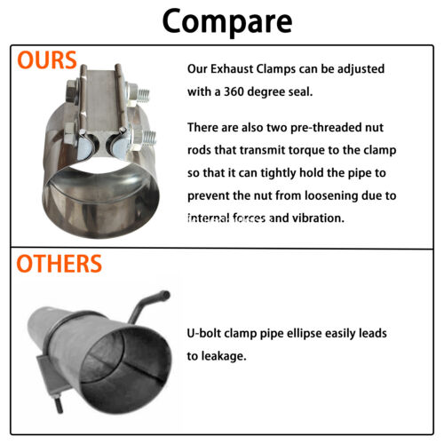 car truck parts 2 pcs stainless steel 3 inch exhaust clamps muffler band clamp for 3 diameter car truck exhausts exhaust parts